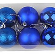 """Набор 6 пластиковых шаров """"Синее ассорти"""", 60-5-4 фото"""
