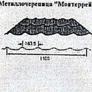 Металлочерепица Монтеррей, Полиэфир с 1-й стороны, 1177(1100)x0.5мм фото