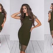 Женское комбинированное летнее платье (5 цветов) - Хаки ТК/-24035 фото