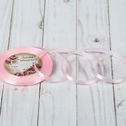Лента атласная, 6мм, 23±1м, №43, цвет нежно-розовый фото