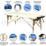Массажный стол двухсекционный деревянный(бук) бежевый+валик фото