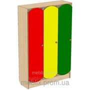 Шкаф для раздевалки детский 3-х секционный с цветными дверцами 920*250*1250h фото