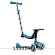 Детский трехколесный самокат Globber My Free Seat Titanium 4in1 Lights голубой фото