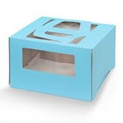 Коробка для торта 1 кг с окном, 110 мм, тонированная фото