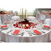 Прокат скатертей, салфеток, матовые чехлы на стулья, текстиль для праздников в аренд. фото