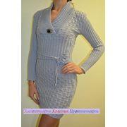 Платье вязаное трикотажное Таня ворот с поясом фото
