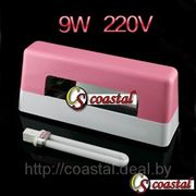 Лампа для наращивания ногтей 9 W 220 V розовая с лампочкой 9W для УФ аппарата. фотография