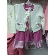 Костюм - розовое платье с белым пиджаком фото