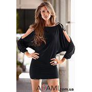 Черное платье с длинным рукавом фото