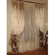 Пошив штор, гардин, ламбрекенов, подхватов в спальной комнате и гардеробной. фото