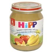 Бананы и персики в яблочном пюре HiPP, Фруктовое пюре, детское питание фото