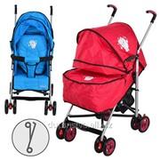 Коляска детская Артикул: S2-1, прогулочная, 2 цвета (голуб,красная), колеса 8шт, чехол на ножки фото