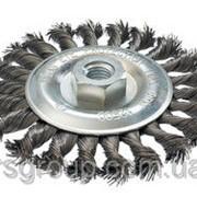 Щетка дисковая из плетеной проволоки (YDM9016) 125хМ14, Ø 0,5 фото