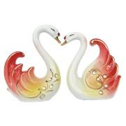 Пара лебедей красных со стразами фото