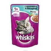 Whiskas 85г пауч Влажный корм для взрослых кошек от 1 года Кролик и овощи (желе) фото