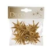 Декор Звезды с блестками золотые 5см фото