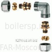 """Угольник 1"""" с двумя концовками для металлопластиковых труб 32х3, хромированный, артикул FC 5361 1276275 фото"""