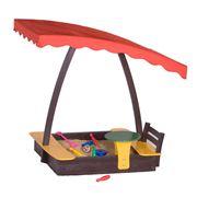 Деревянная детская песочница со столиком фото