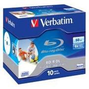 Диск BD-R Verbatim DL 50Gb 6x Jewel 10шт Wide Printabl (43736) фото