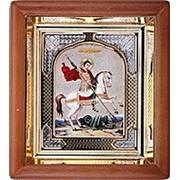 Икона аналойная, Георгий Победоносец, риза, 17х19 фото