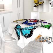 Разноцветные бабочки арт.ТФС3986 (145х145) фотоскатерть фото