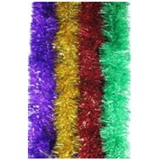 Мишура новогодняя 2 м. пушистая,ассорти,100мм, 8 цветов. фото