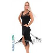 Dance Me Юбка для латины ЮЛ324 женская, масло / бахрома, черный фото