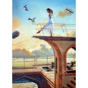 Картина фантазия маслом на холсте о полетах во сне и наяву фото
