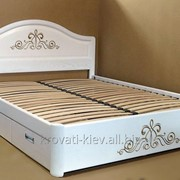 """Кровать деревянная двуспальная белая """"Виктория"""" с резьбой фото"""