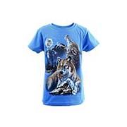 Модная футболка светло-синего цвета с принтом волков 10 фото