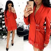 Платье-пиджак с кружевом на подоле (4 цвета) - АА/-1310 фото