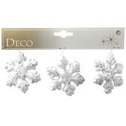 Декор Снежинка с блестками 7,5см бел фото