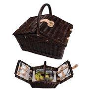 Плетеная корзина для пикника с термоотделением и набором посуды на две персоны фото