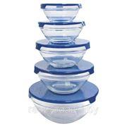 Набор стеклянных салатниц с пластиковыми крышками 5шт. Glass Bowl Set арт.GA9017 фото