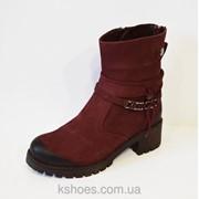 Бордовые женские ботинки Alpino 4055 фото