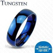 Кольцо из вольфрама синее фото