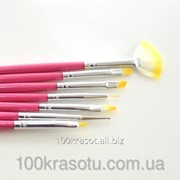 Набор кистей для геля и рисования Lker - 7 шт/уп - малиновая ручка фото