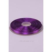 Лента атлас 6 мм с золотом, тёмно-пурпурный (рул 25 м) фото