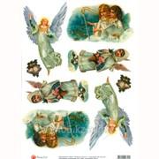 Декупажная карта Ангелы в белом фото