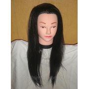 Манекен головы со штативом. Брюнет. Волосы 60 см. фото