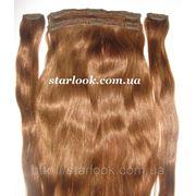 Набор натуральных славянских волос на клипсах 65 см. Оттенок №8а. Масса: 110 грамм. фото