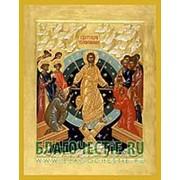 Благовещенская икона Воскресение Христово, копия старой иконы, печать на дереве, золоченая рамка Высота иконы 11 см фото