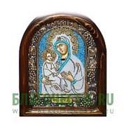 Дивеевские золотошвейные мастерские Троеручица Богородица, дивеевская икона ручной работы из бисера Высота иконы 61 см фото