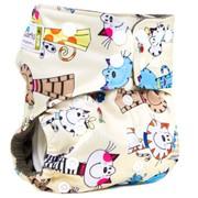 Многоразовый подгузник GlorYes! PREMIUM Коты на бежевом 3-18 кг + два вкладыша фото
