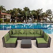 Плетеный модульный диван YR822BG Brown/Green фото