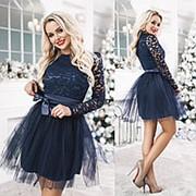 Платье мини с фатином ТК/-2014 - Темно-синий фото