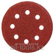 Круг шлифовальный универсальный Stayer из абразивной бумаги на велкро основе, 8 отверстий, Р80, 125мм, 5шт Код: 35452-125-080 фото