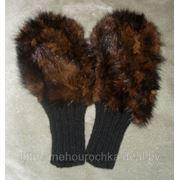 Варежки с мехом норки, плетёной по трикотажу фото