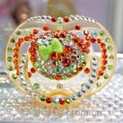 Соска Avent с камнями Оранжевое лето (подарок на рождение,крестины) 6-18мес фото