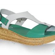 Сандалии женские 8258-1182, белый, зеленый фото